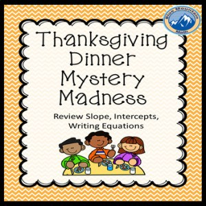writing equations, slope, intercepts are reviewed in this holiday themed activity