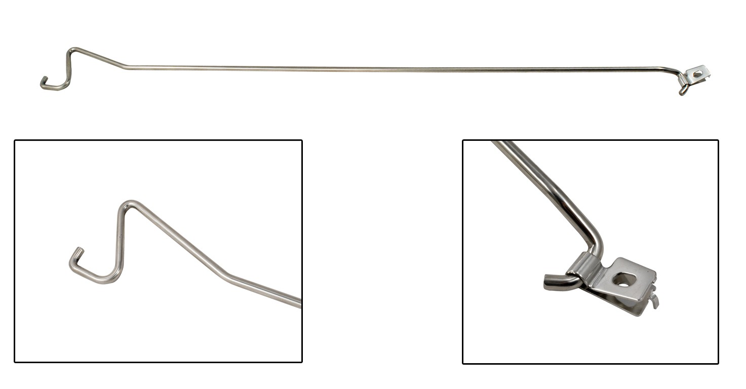 Mustang Engine Hood Prop Rod Polished Stainless