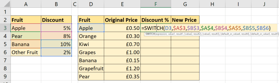 SWITCH Function Example 2