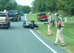 Traffic slows along Rt. 151 at Bland Wade Ln. in Afton following a motorcycle wreck vs. a pickup truck -- Photo by Yvette Stafford