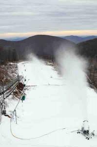 Photo By Paul Purpura ©2008 NCL : Snow making began Wednesday at Wintergreen Resort.