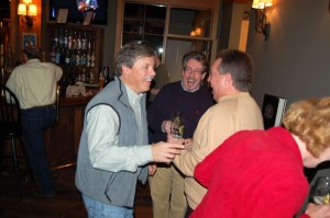 Steve Crandall, (left) founder of DBBC chats it up with Chris Allwood of Eades Distillery in Lovingston and Nelson Sheriff David Brooks.