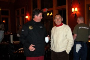 Executive Chef, Shawn Goodwin, talks with Veritas Vineyard & Winery owner Andrew Hodson Tuesday night.
