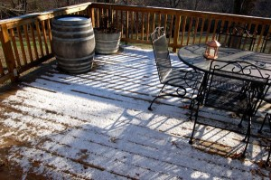 Just enough snow fell in the Rockfish Valley to barely cover this deck.