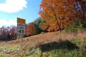 New 45 MPH speed limits signs went up this past week between Route 6E and points south toward Nellysford, Virginia