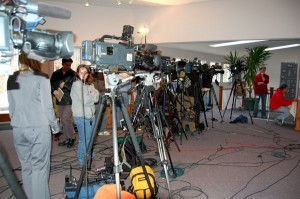 The horde of media gathered at Friday's press conference in Nelson County, Virginia