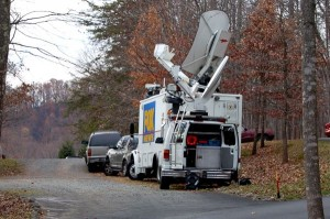 A Fox News Channel satellite truck parked outside of Synchronicity Friday afternoon.