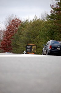 The radar signs are a warning to drivers to watch their speed along the new 45 MPH zone.