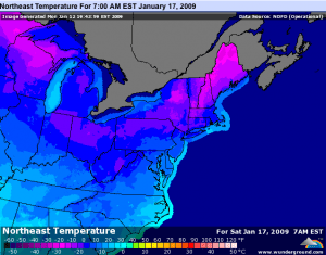 Predicted Bitterly Cold Temperatures By Saturday Morning Of The Coming Weekend. Courtesy : www.wunderground.com - Click image above for latest map