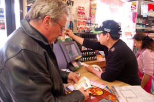 Hoping his recent good luck breeds more good luck, Alain is buying up his tickets for next week's Mega Millions.