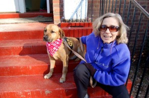 Nancy Kern a volunteer with Almost Home SPCA shows off Happy at RVCC.