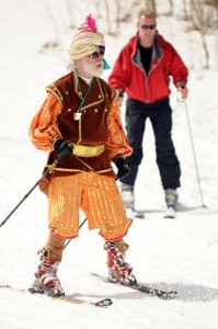 Michael Zuckerman of Wintergreen's Adaptive Sking can always be counted on for a very colorful costume!