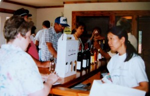 Photo Courtesy of AMV : Shinko waits on customers about 13 years ago in the popular Afton, Virginia winery.