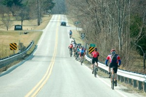 Bikers head south on 151 toward Brent's Mountain.