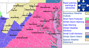 The Winter Storm Warning area highlighted in pink as outlined by the National Weather Service.