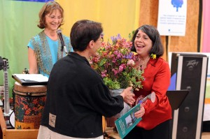 Photos By Paul Purpura : ©2009 NCL Magazine : Sue Bernard (right) is overwhelmed as Judy Rendich (left) and Peggy Whitehead recognize Sue for her 11 + years of work on RHOP.