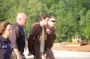 ©2009 NCL Magazine : Nelson Investigator Becky Adcock, Waynesboro Investigator Paul McCormick, and Nelson County Sheriff David Brooks, escort 20 year old Austin Griffin to a Monday bond hearing in Lovingston, Virginia
