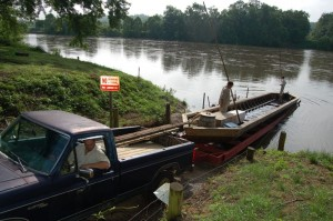 ©2009 NCL Magazine : Photos By Yvette Stafford : Brian Roberts launches his latest built batteau into the James River at Howardsville this past weekend. Click on any photo for larger view.
