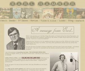 A screen shot of Earl Hamner's website.