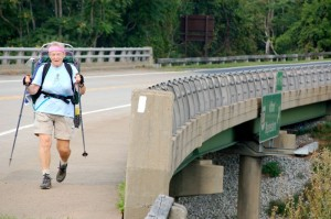 Photos By Tommy Stafford : ©2009 www.nelsoncountylife.com : Sandy Gallagher celebrated her recent 70th birthday by hiking a 107 mile stretch The AT through the Shenandoah National Park over the past 10 days. She finished her last steps of the hike Thursday afternoon.