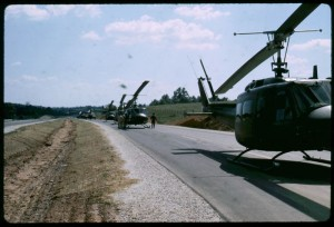 Relief helicopters line up along Route 29 in 1969.