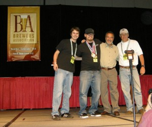 Thanks to Heidi Crandall for this photo from Denver : ©2009 www.nelsoncountylife.com :  Aaron Reilly (Assistant Brewer @ DBBC) Jason Oliver (Head Brewmaster @ DBBC),  Charlie Papazian, President of the Brewers Association, and Steve Crandall (owner of DBBC) accept their awards this weekend at The Great American Beer Festival.