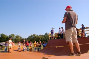 Tim Gorman, who spearheaded the effort, thanks the crowd on hand Saturday morning just before opening the skatepark.