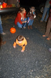 Adam decided to take a lap around the parking lot in his pumpkin outfit!
