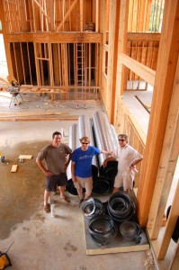 By July of 2008 much of the brewery's framework was done. Executive Chef, Shawn Goodwin, Brewmaster Jason Oliver, and Crandall inside the brewery under construction last year.
