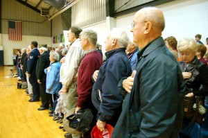 Veterans stand as The National Anthem is played by The Nelson County High Marching Governors Band.