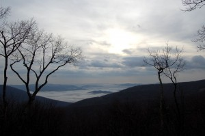 ©2009 www.nelsoncountylife.com : Photo By John Taylor : The view from above on Devils Knob looking into the Rockfish Valley on Tuesday morning. Click to enlarge.