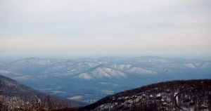 Looking east toward the Rockfish Valley and Charlottesville, VA from 3000 feet at Founders Vision Overlook above Wintergreen Resort.