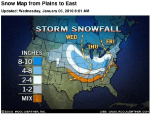 ©2010 www.accuweather.com : This AccuWeather graphic shos potential snowfall by the end of the week.  Click image for latest.