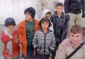 Lt. Matt Russo with school children in Afghanistan.