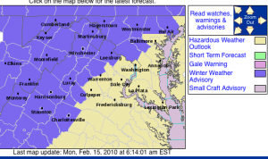 A Winter Weather Advisory begins @ 11AM  for the counties highlighted in purple. Click image for the latest updates from NWS.