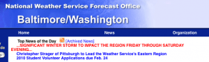 A message in red on the NWS site highlighting the severity of impending storm.