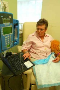 ©2009-2010 www.nelsoncountylife.com : Stoney Creek Pharmacy owner, Cheryl Tompkins, last summer at UVa receiving chemo treatments for her breast cancer. This weekend she celebrates life!