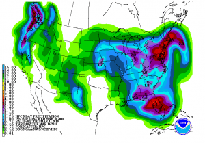 The Hydrometeorological Prediction Center shows significant rainfall over the next several days with the potential for localized flooding due to melting snow in the higher elevations. Click on image for latest updates of the graphic.
