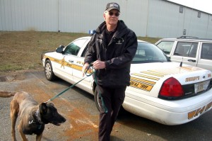 All Photos By Tommy Stafford : ©2010 www.nelsoncountylife.com : Nelson County Deputy Bill McDonald prepares to train with his dog Nicodemus at the old American Yarn Plant in Afton. Virginia. Click any photo to enlarge.