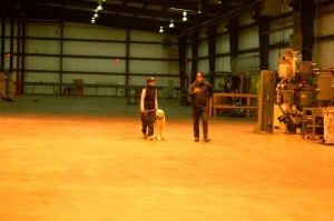 Helene Dodge (left) with her dog Orso along with professional trainer Armin Winkler debrief after a practice search in the old yarn factory.