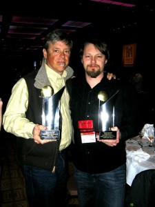 Photo Courtesy of DBBC : Steve Crandall (left) owner of Devils Backbone and Jason Oliver (Head Brewmaster @ DBBC) hod up their trophies at this year's World Beer Cup.