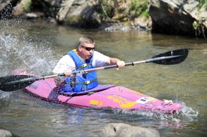Photos By Paul Purpura : ©2010 www.nelsoncountylife.com : This kayaker takes to the river in the 2009 Piney River Mini Triathlon. Click images to enlarge.