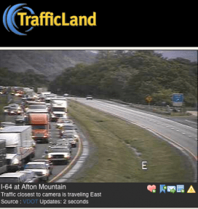 ©2010 www.trafficland.com : A screenshot of I-64 East near Exit 99 around 7:40 PM Wednesday evening. Click to enlarge.
