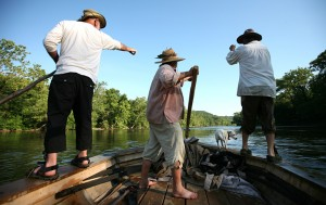 Photo and video by Norm Shafer : ©www.nelsoncountylife.com : Dave Bryant, Byrne Nelson and Roger Nelson figure out the route through a low spot on the James River, Monday June 21, 2010 during the 25th annual James River Batteau Festival. They were aboard the Rosalee on the section between Bent Creek and Wingina.
