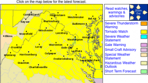 From The National Weather Service : The area highlighted in yellow is under a tornado watch until 8PM Sunday evening. Click on the image for the absolute latest info from NWS.