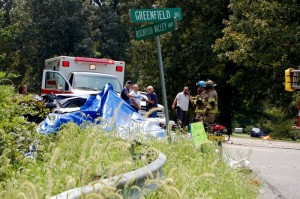 The accident scene, August 30, 2007, where Laura Cavedo and her two daughters were killed.