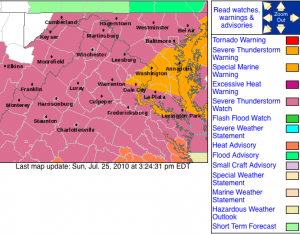 Via NWS: A Severe Thunderstorm Watch is in effect until 8PM Sunday evening for areas highlighted in pink. Click on map for the latest updates via NWS.