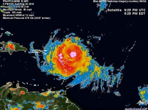 Image via www.wunderground.com : Hurricane Earl from an enhanced sat image taken late Sunday afternoon. Click on image for latest updates.