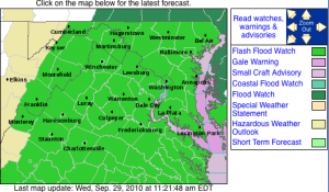Via NWS : A Flash Flood Watch begins Tuesday evening for all of the areas shaded in light green. The possibility of up to 6 inches of rain in some areas can be expected. Click on map for the latest updates via NWS.