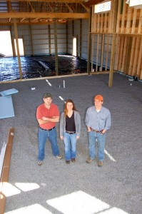 Photo By Tommy Stafford : ©2007-1010 www.nelsoncountylife.com : Taylor Smack, Mandi Smack, & Matt Nucci in a March 2007 photo as Blue Mountain Brewery is under construction. Click any photo to enlarge.